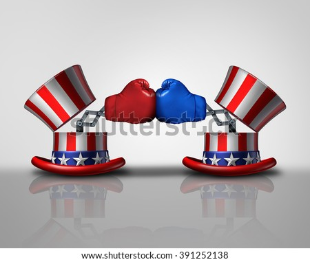 American election fight and political violence concept for campaigning for votes as an open uncle Sam top hat and flag of the United States and a boxing glove fighting the left and right. - stock photo
