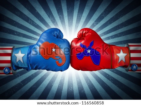 American election fight as Republican versus Democrat as two boxing gloves with the elephant and donkey symbol stitched fighting for the vote of the United states presidential and government seat. - stock photo