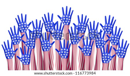 American elections hand raising for vote - stock photo