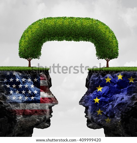 American European partnership and international trade agreement financial concept as two separate mountain cliffs united together by a connected tree as global cooperation in a 3D illustration style. - stock photo