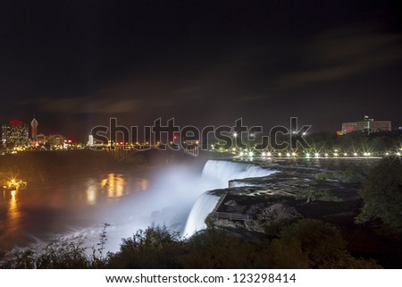 American Falls and Niagara Falls City in Canada at night
