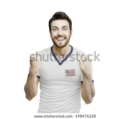 American fan celebrates on white background