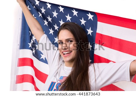American fan holding USA flag