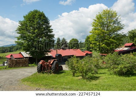 American Farm, Blue Cloudy Sky - stock photo