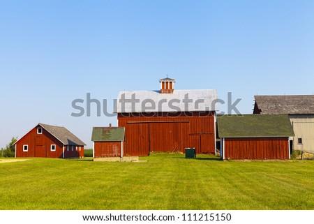 American Farm With Blue Sky - stock photo