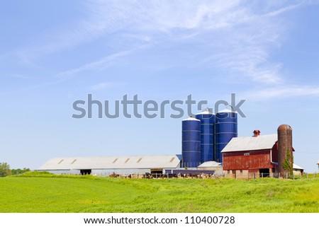 American Farmland With Blue Sky - stock photo