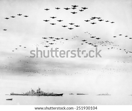 American fighter fly in formation over the USS MISSOURI during surrender ceremonies. Tokyo Bay, Japan. Sept. 2, 1945. World War 2. - stock photo