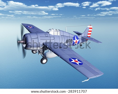 American fighter plane of World War II Computer generated 3D illustration