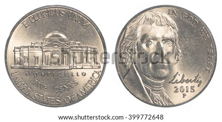 American five cents coin (Jefferson Nickel) isolated on white background - stock photo
