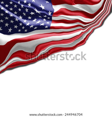 American flag abstract, and white background - stock photo