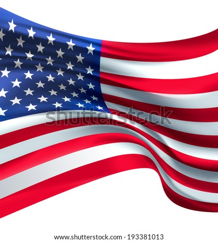 American Flag against white background for Independence Day