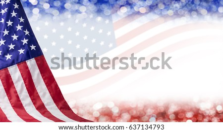 American flag and bokeh background with copy space for 4 july independence day and other celebration