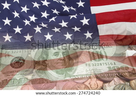 American flag and currency - stock photo