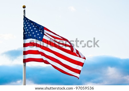 American flag at dusk - stock photo