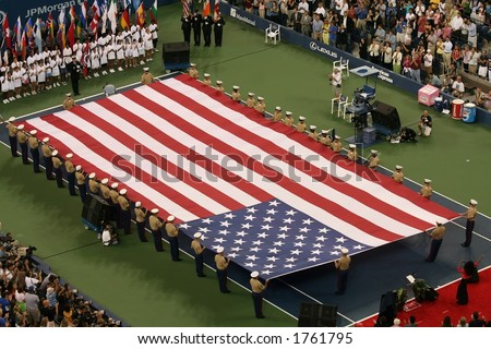 American Flag at US Open Opening Night Ceremony - stock photo