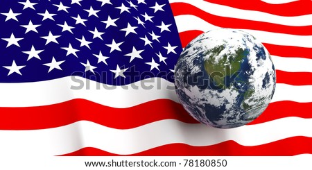 American flag background, Earth in foreground showing country of The United States of America through cloud cover