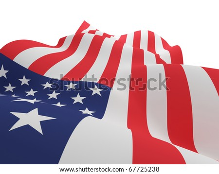 American flag background. Isolated on white. - stock photo