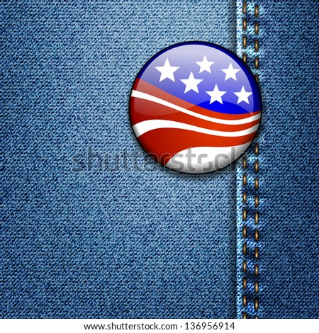 American Flag Badge On Jeans Denim Texture - stock photo