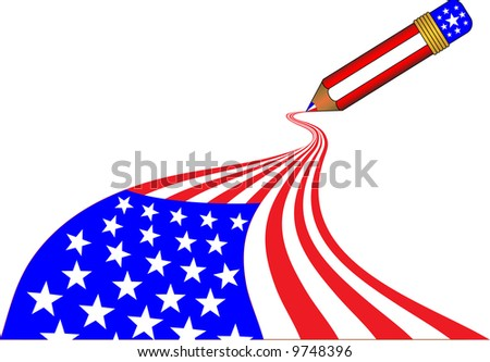 American flag being drawn in one stroke by a magic pencil - stock photo