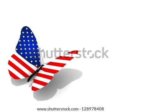 American flag butterfly flying, isolated on white background.  3d illustration. The space for your text or image