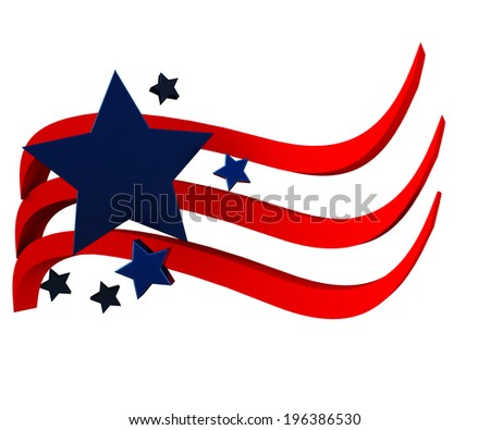 American flag 3D with stars icon vector - stock photo