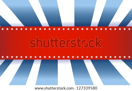 American Flag Design, red white and blue background - stock photo