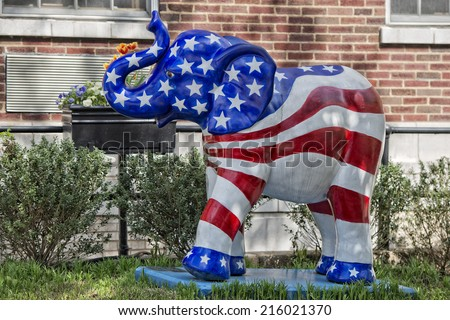 american flag elephant statue in Washington DC house garden  - stock photo
