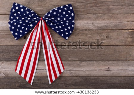 American flag emblem on a wooden background