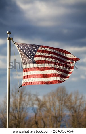 American flag flying high and proud over the Shenandoah Valley - stock photo