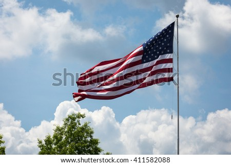 American Flag flying on a flag pole