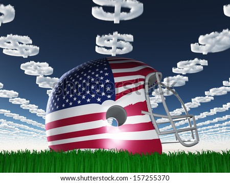 American Flag Football Helmet on Grass with Dollar Symbol Clouds - stock photo