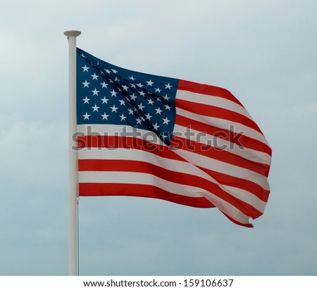 American flag from Promenade des Anglais, Nice, France.