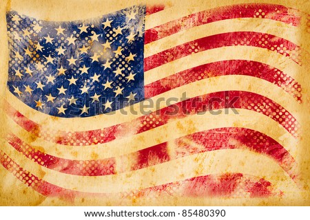 American flag grunge  on old vintage paper