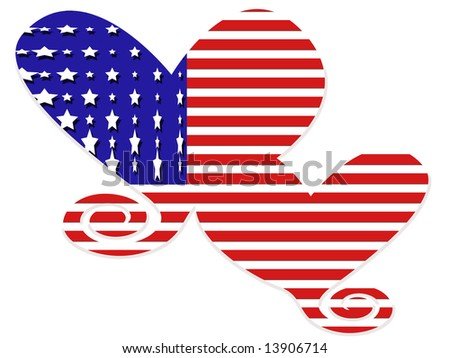 American flag hearts in red, white and blue stripes