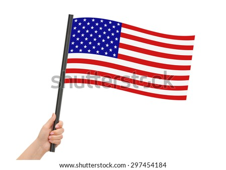 American flag in hand isolated on white background - stock photo