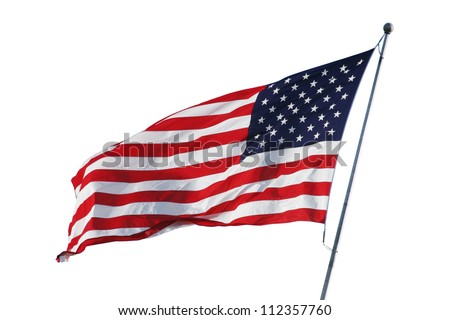 American flag isolated on white with clipping path - stock photo