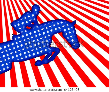 American flag, jumping horse design