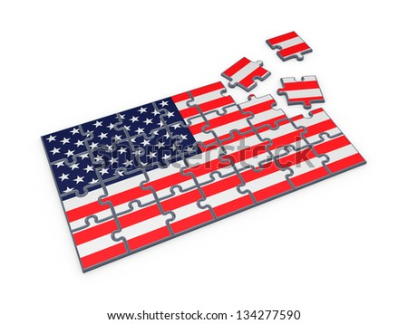 American flag made of puzzles.Isolated on white background.3d rendered. - stock photo