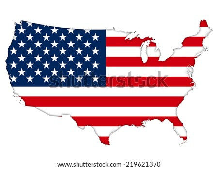 American flag map  - stock photo