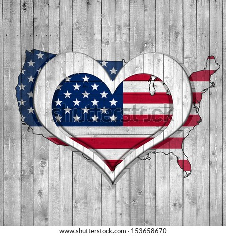 American Flag Map Wooden Background With Heart