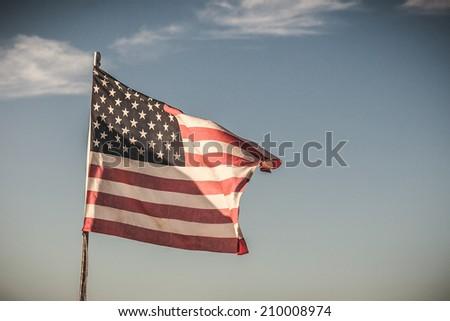 American flag on a background of sky
