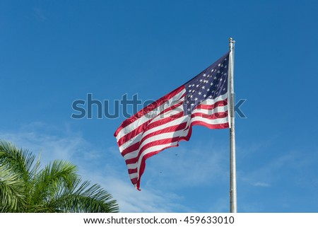 American flag on a flagpole.