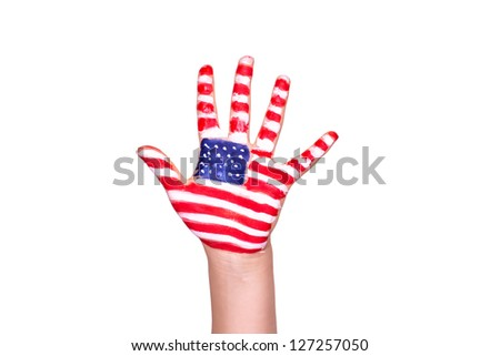 American flag on a hand isolated on white. Travelling to America concept. - stock photo