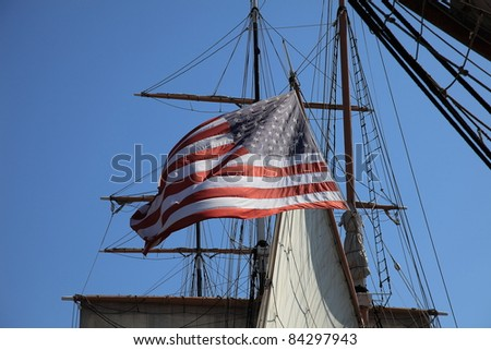 American Flag on a ship - stock photo