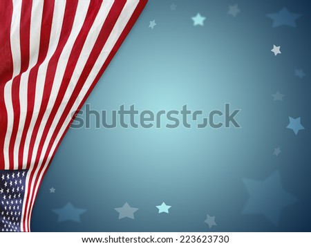 American flag on blue background - stock photo