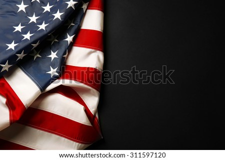 American flag on dark background - stock photo