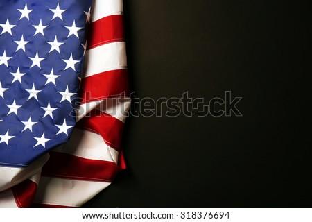 American flag on dark background - stock photo