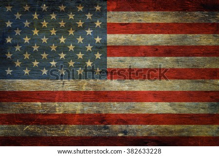 American flag on grunge wooden background retro effect image
