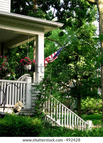 American flag on porch 2