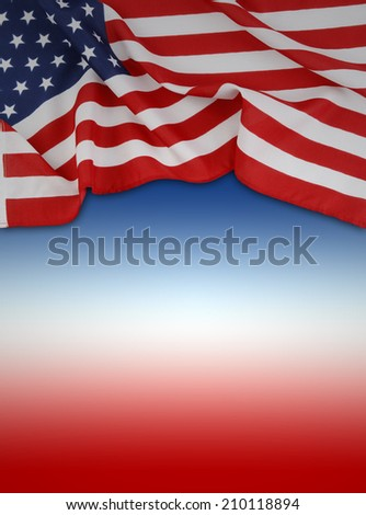 American flag on red, white and blue background - stock photo